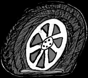 Teckning av däck med punktering