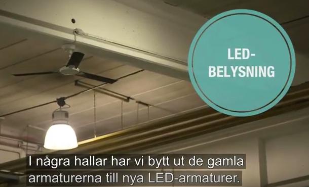 I några hallar har de bytt ut de gamla armaturerna till nya LED-armaturer. Dels drar de mindre ström, och de tänds på en sekund istället för 15 min. Det gör att de kan tända och släcka när de går in och ut ur lokalen.